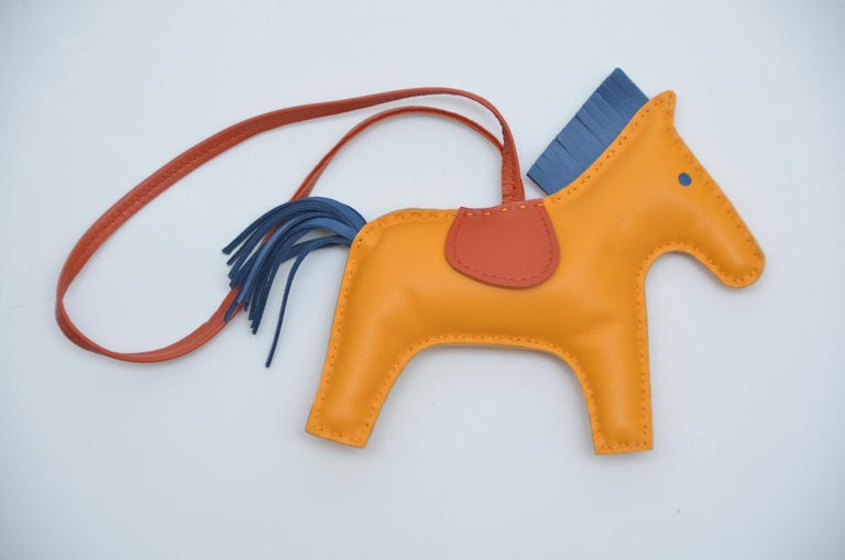 Hermes Rodeo Bag Charm GM Jaune Blue Bleu Rodeo Horse  NEW In New Condition For Sale In Hollywood, FL