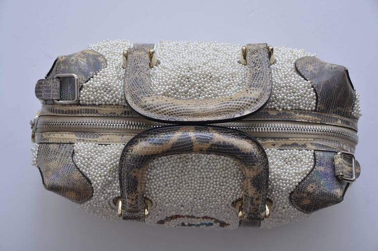 Gray Fendi Lizard And Faux Pearls Embellished Handbag  For Sale