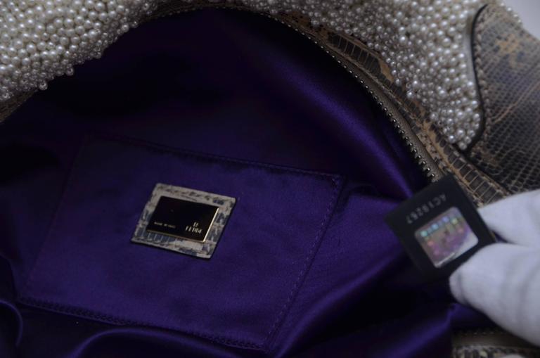 Fendi Lizard And Faux Pearls Embellished Handbag  For Sale 3