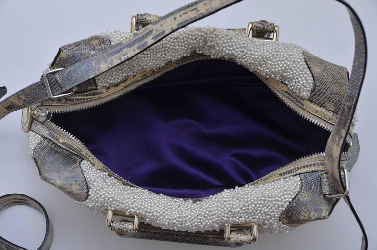 Fendi Lizard And Faux Pearls Embellished Handbag  For Sale 4