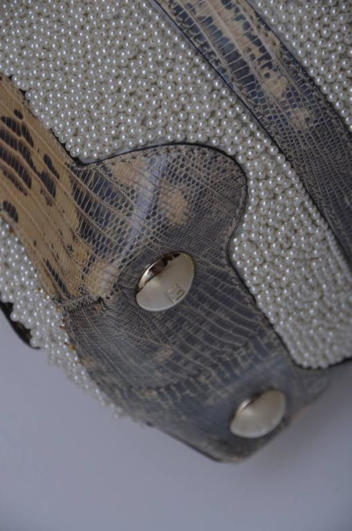 Fendi Lizard And Faux Pearls Embellished Handbag  In Excellent Condition For Sale In Hollywood, FL