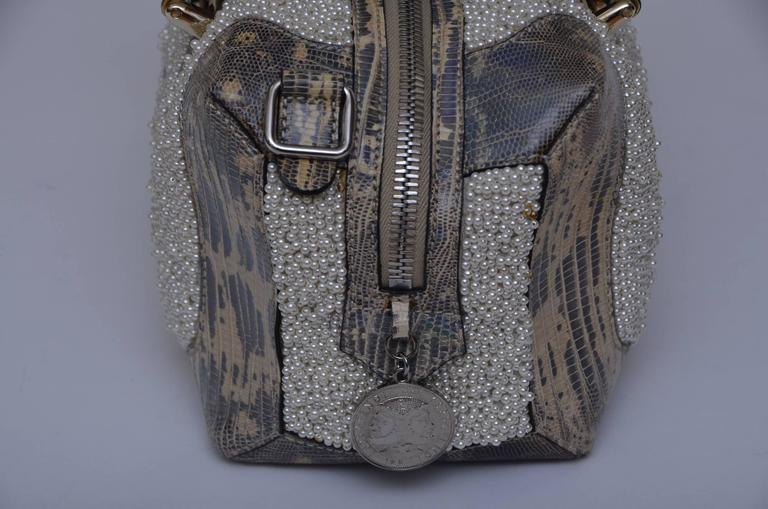 Women's Fendi Lizard And Faux Pearls Embellished Handbag  For Sale