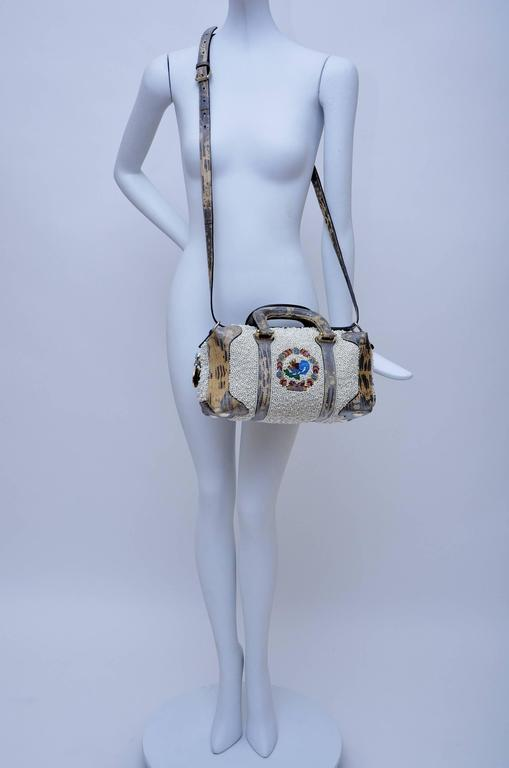 Fendi Lizard And Faux Pearls Embellished Handbag  For Sale 5
