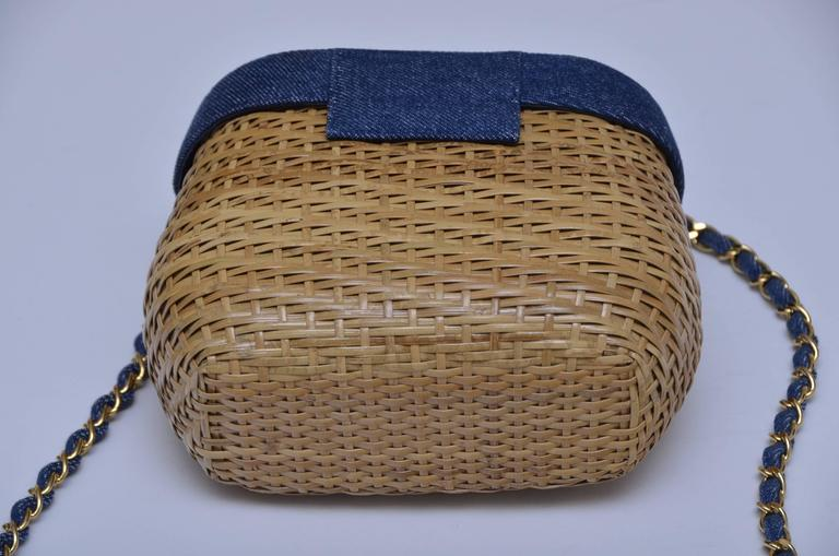 Vintage rare  denim top Chanel wicker handbag.
