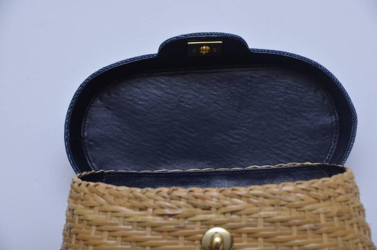 Vintage CHANEL Straw Raffia Denim Top Handbag Mint  7