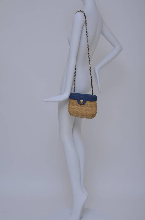 Vintage CHANEL Straw Raffia Denim Top Handbag Mint  10