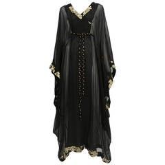 Thea Porter Black Silk Chiffon Caftan