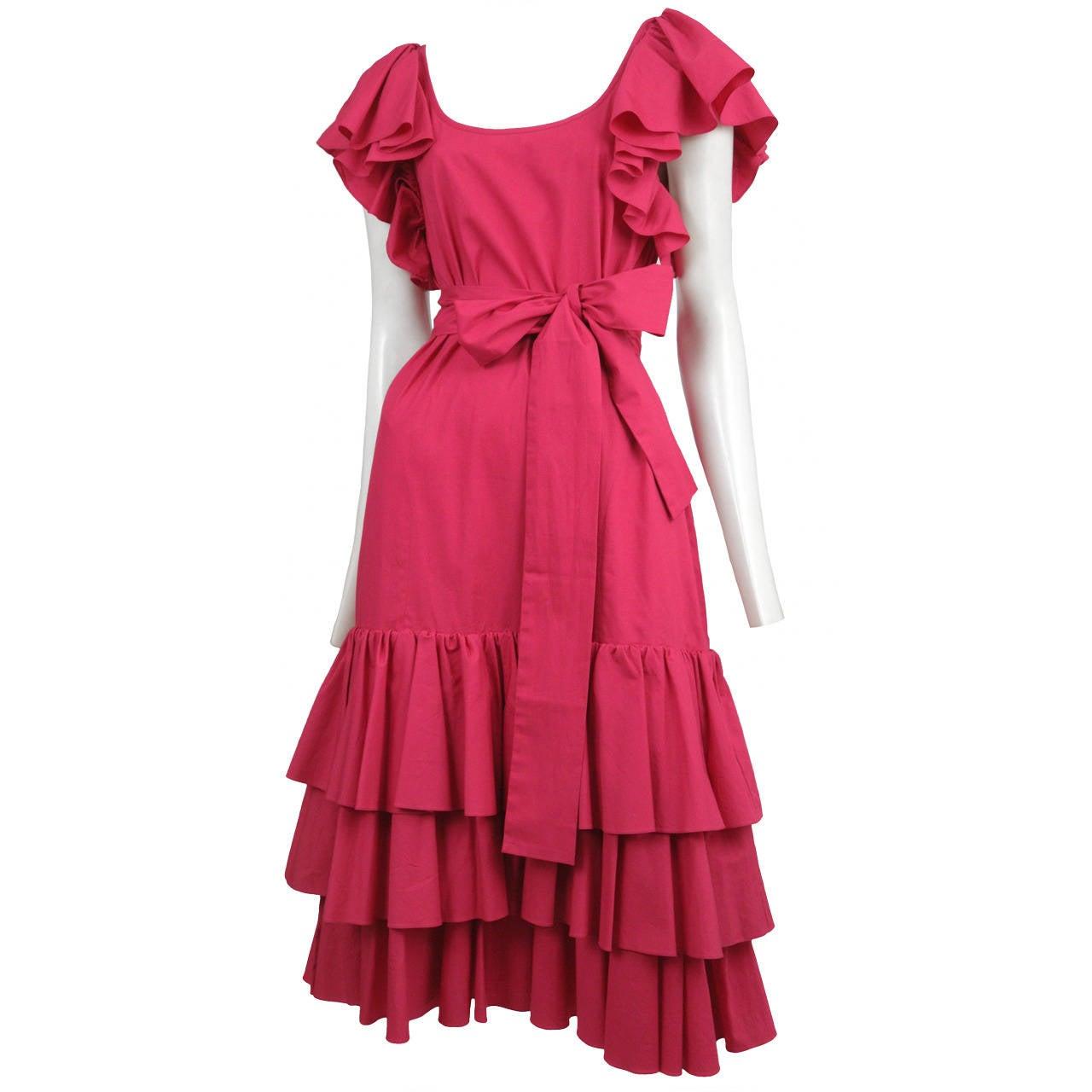 Yves Saint Laurent Pink Cotton Ruffle Dress 1