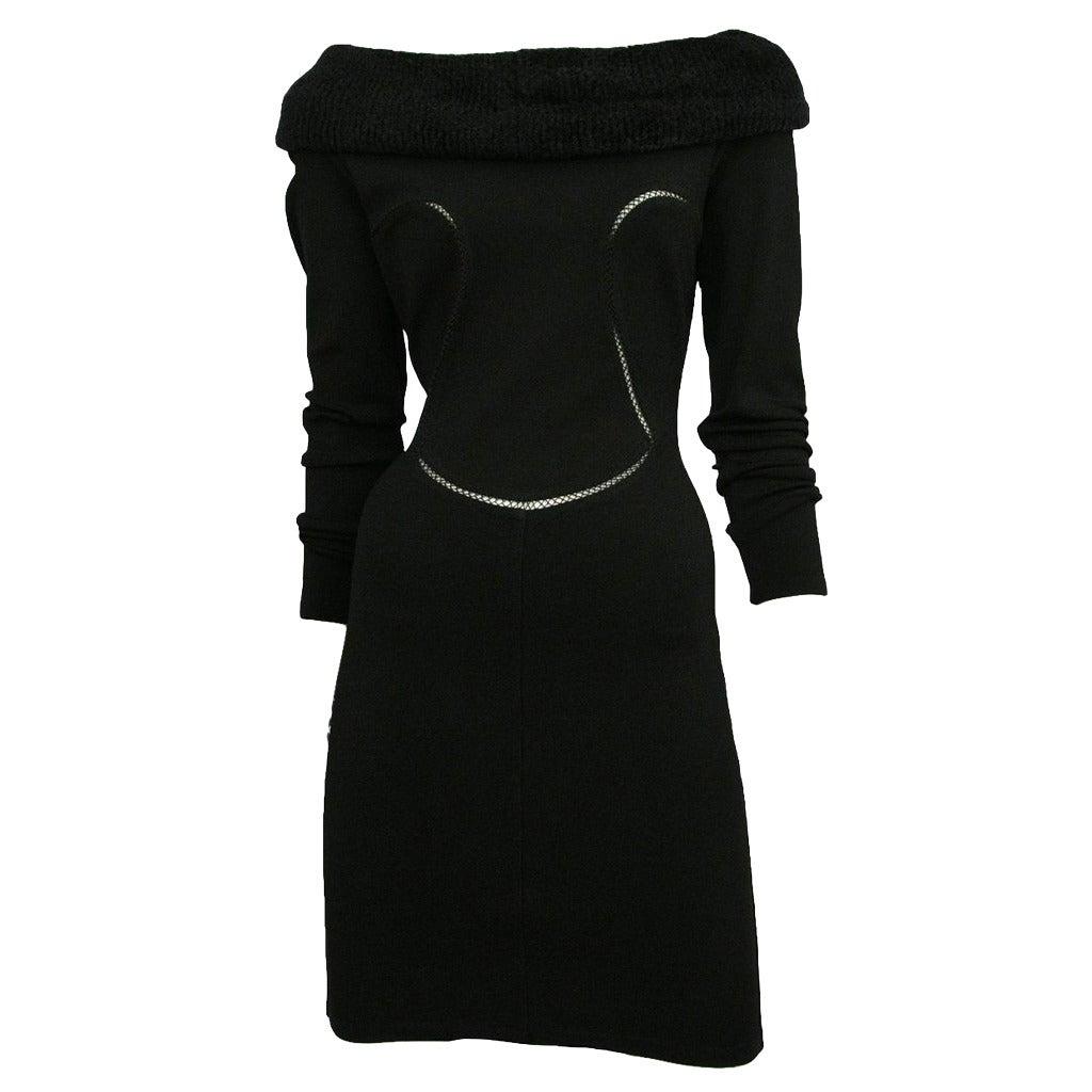 Alaia Black Faux Fur Collar Dress 2