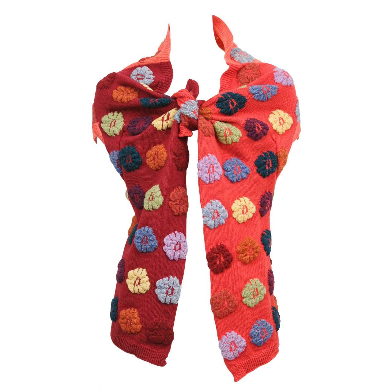 Comme des Garcons Multi-color Floral Shawl For Sale