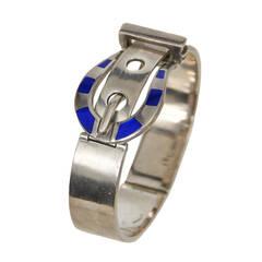 Gucci Silver & Enamel Buckle Bracelet