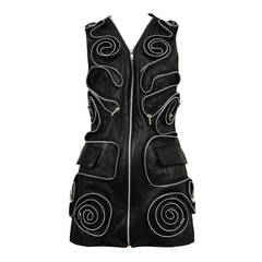 Helen Story Black Leather Zipper Vest