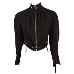 Jean Paul Gaultier Brown Wool Moto Jacket