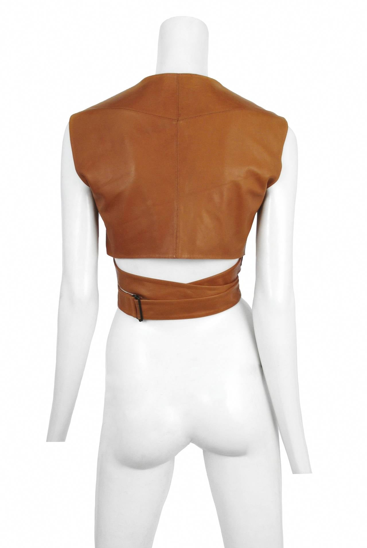 Alaia Leather Wrap Top 2