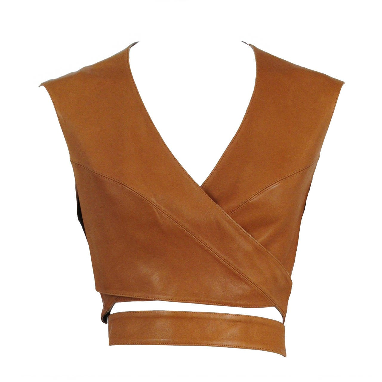 Alaia Leather Wrap Top 1