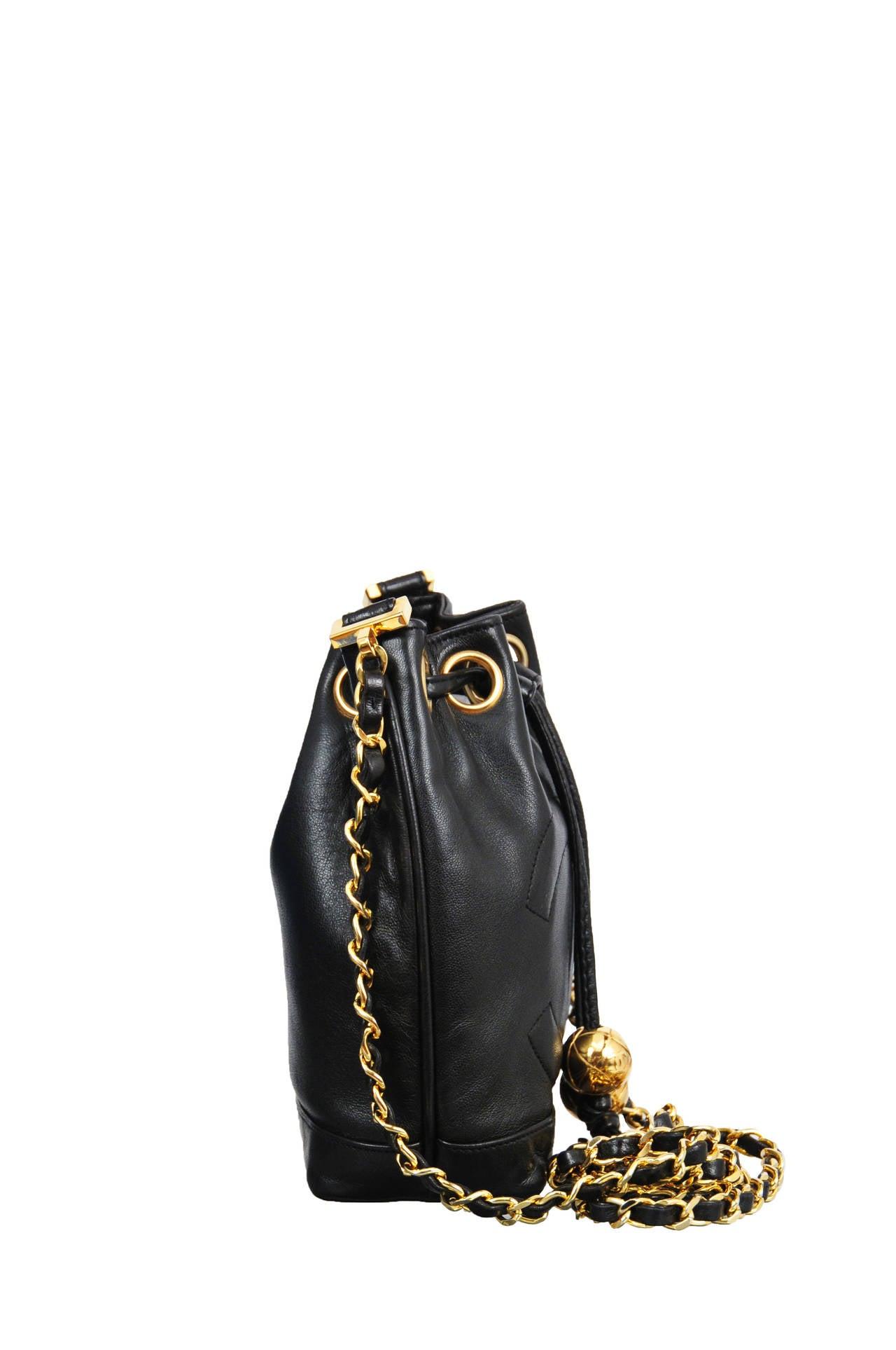 Chanel Black Lambskin Mini Bucket Bag At 1stdibs