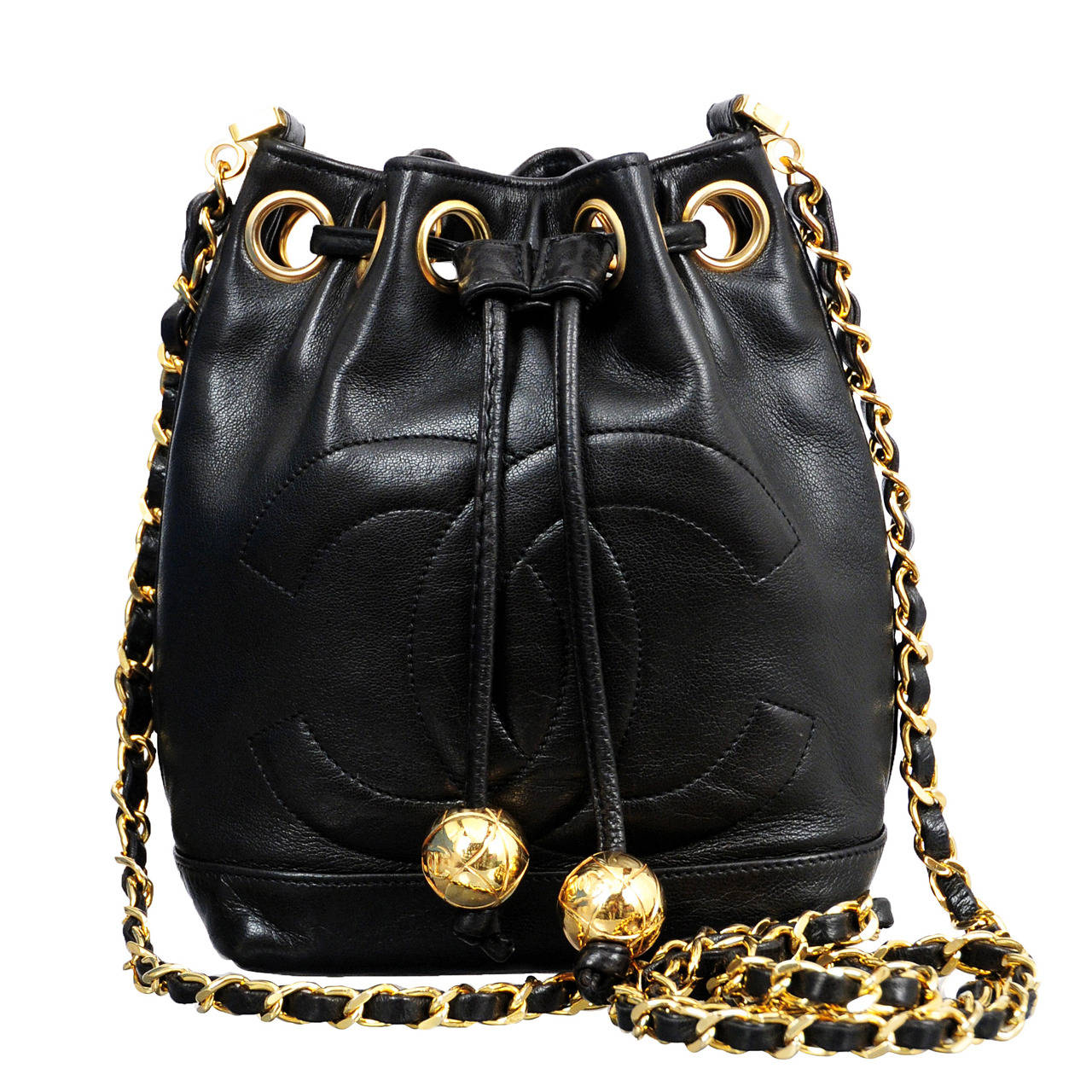 Chanel Black Lambskin Mini Bucket Bag For