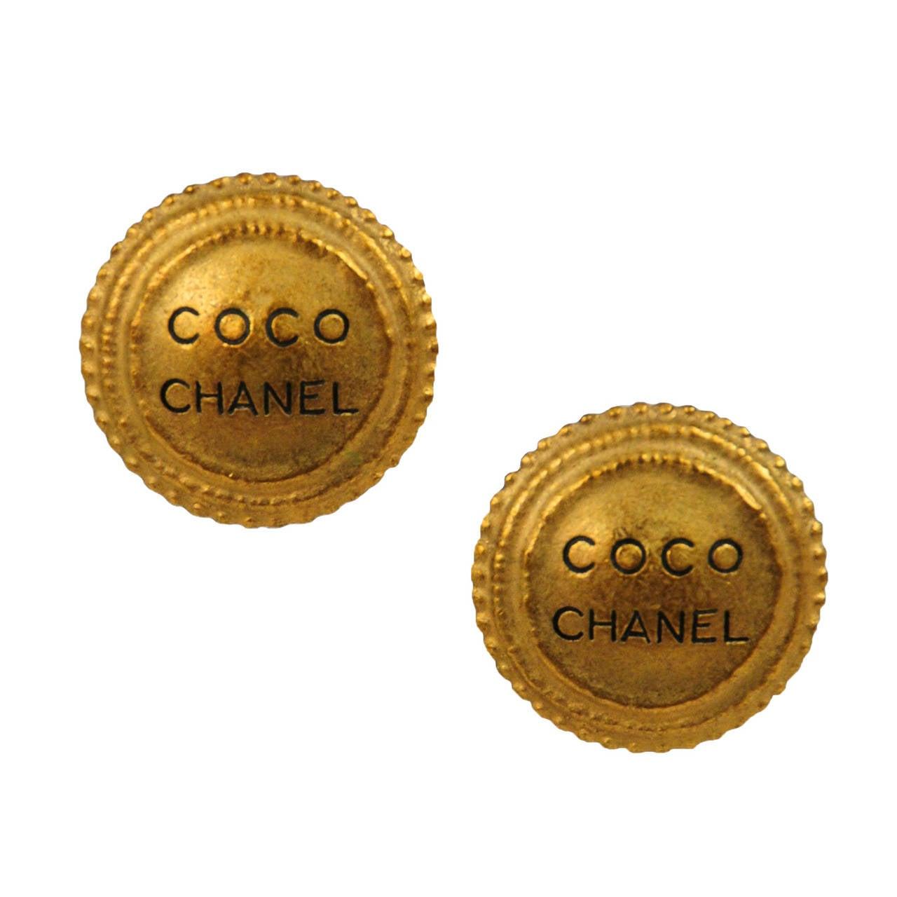 Coco channel earrings : Coco chanel logo earrings at stdibs
