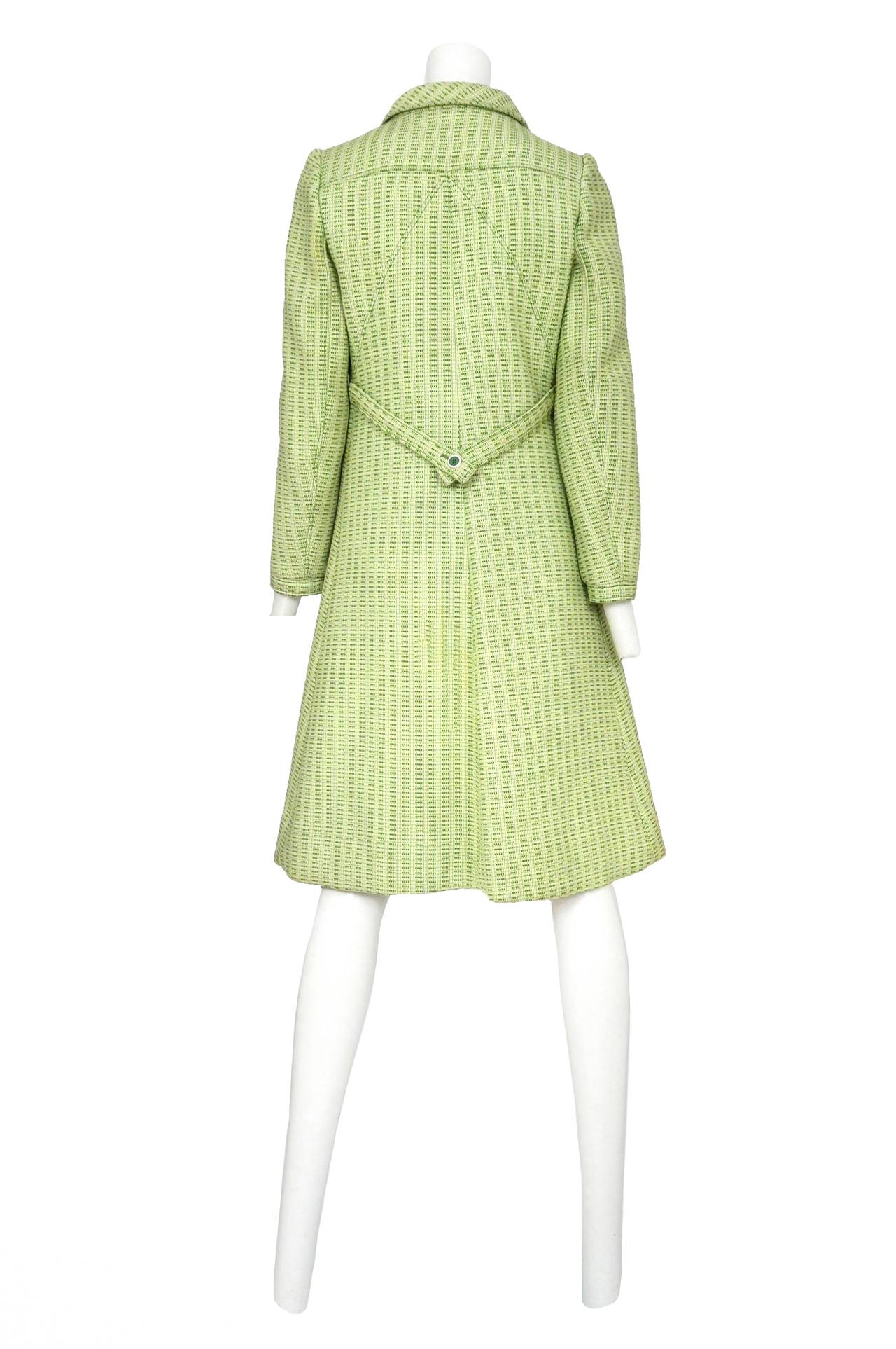 Courreges Green Wool Coat In Excellent Condition For Sale In Los Angeles, CA