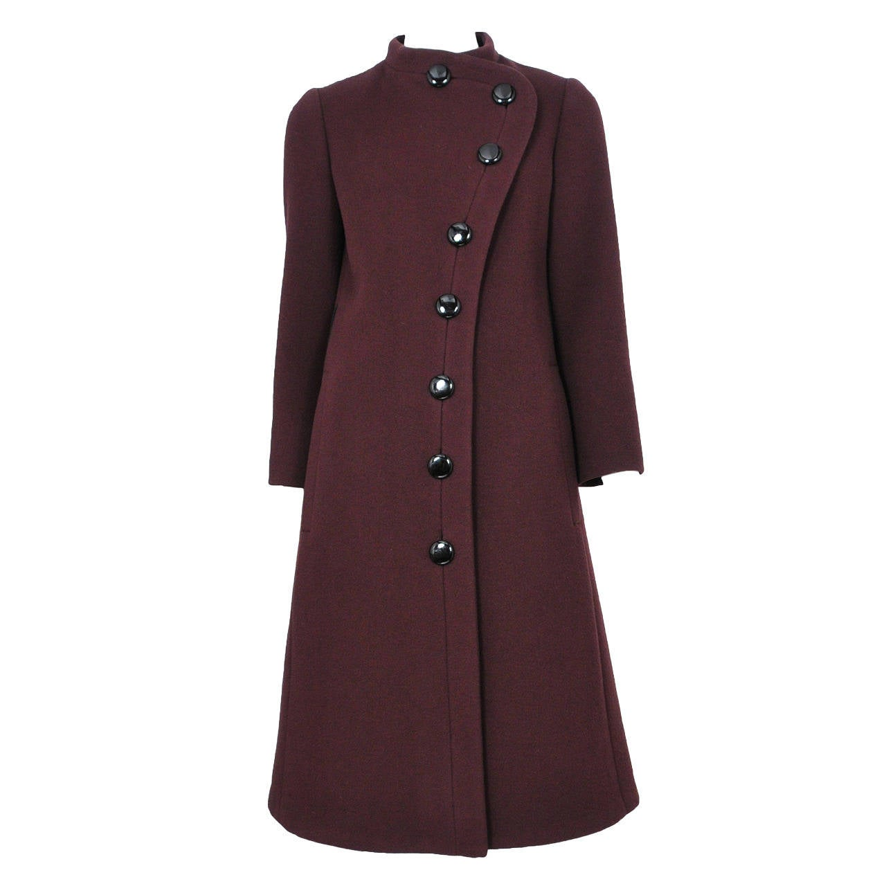 Pierre Cardin Brown Wool Coat For Sale