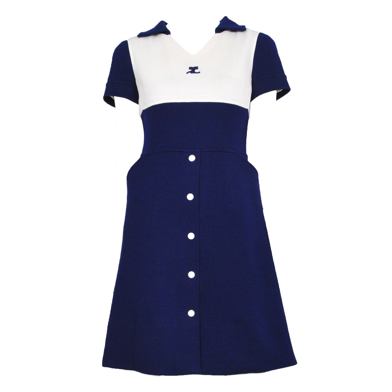 Courreges Blue & White Button Dress 1