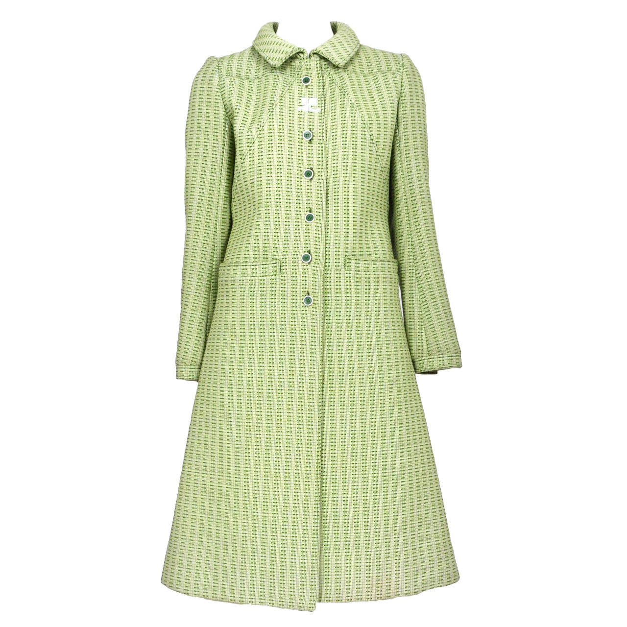 Courreges Green Wool Coat For Sale