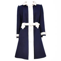 Courreges Navy and White Belt Coat