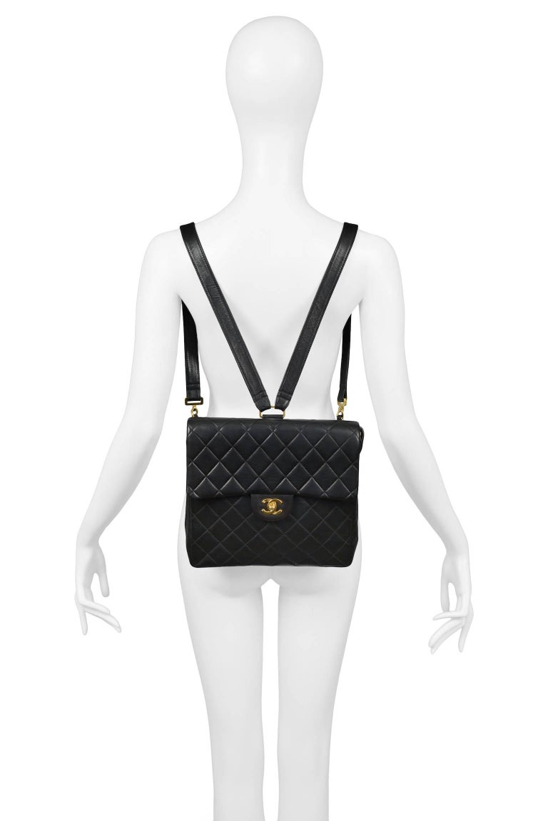 Unusual Chanel Square Quilted Black Leather Backpack Bag With Chain Straps 2