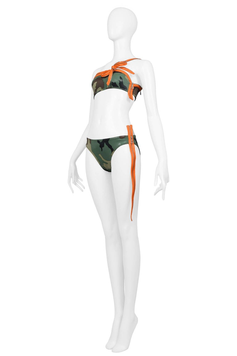 Iconic Dior By John Galliano Camouflage & Zipper Bikini 2001 Never Worn!  2