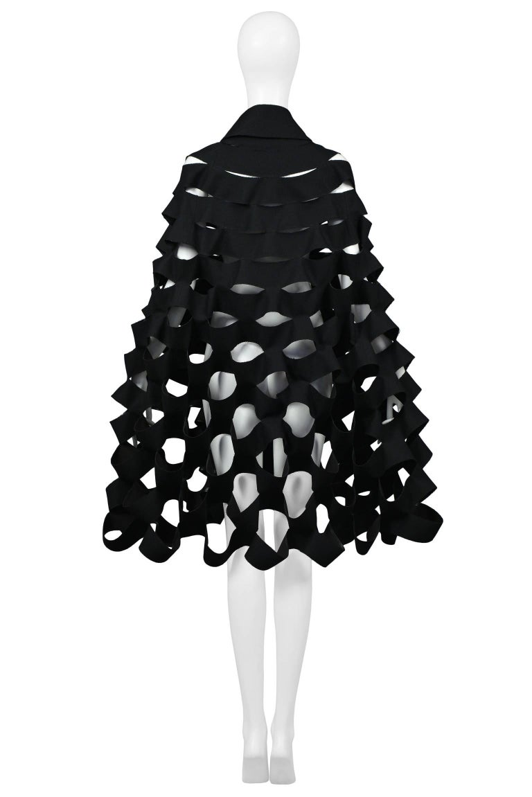 Future Vintage Junya Watanabe Black Double Breasted Laser Cut Cape Runway 2015  For Sale 1