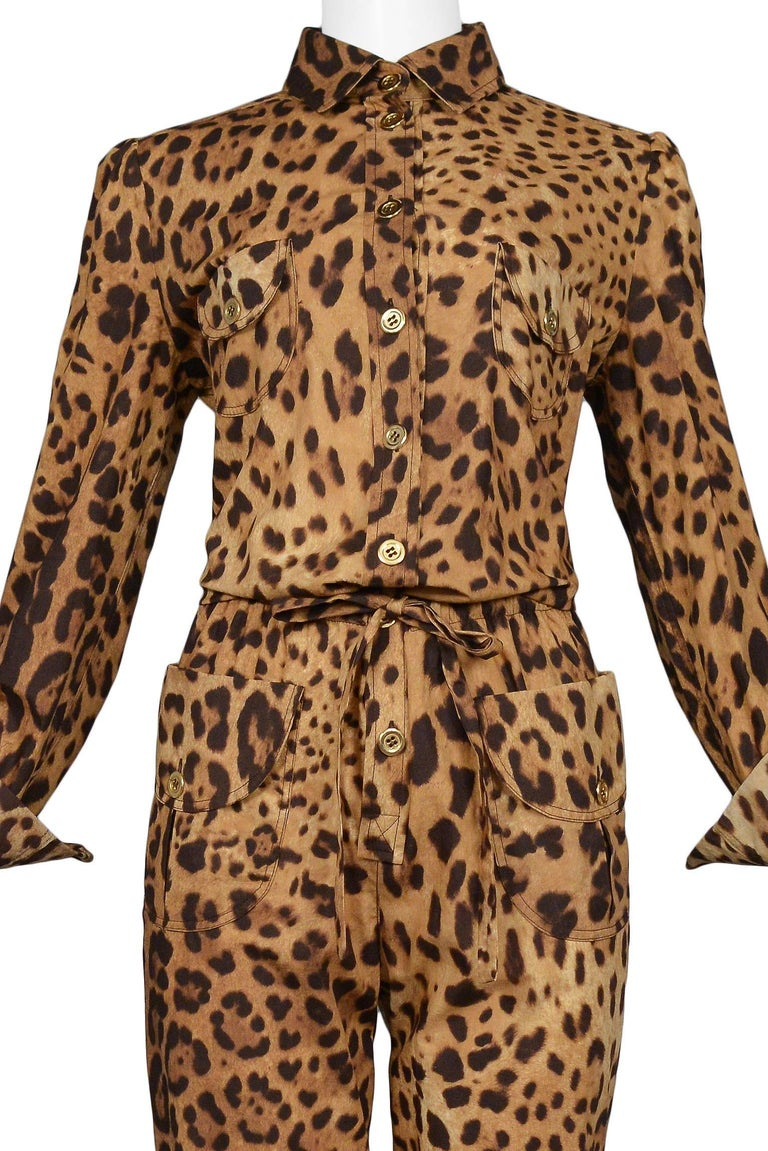 Brown Super Chic Dolce & Gabbana Cotton Leopard Safari Style Belted Jumpsuit For Sale