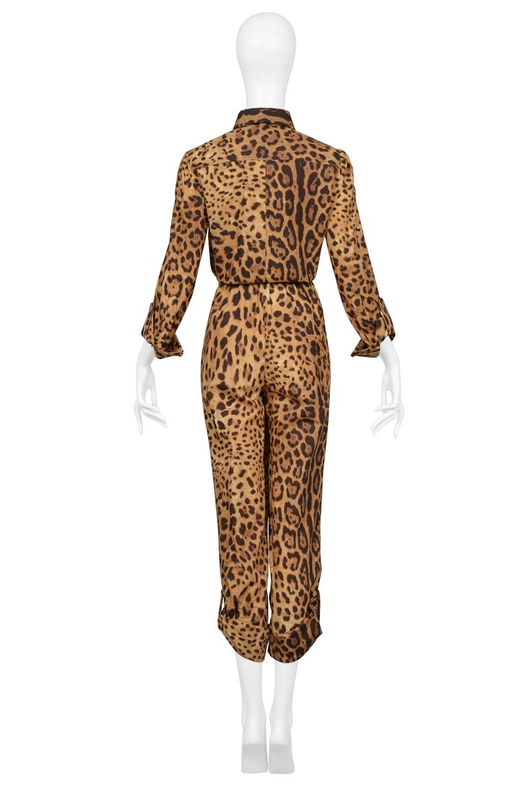 Super Chic Dolce & Gabbana Cotton Leopard Safari Style Belted Jumpsuit For Sale 1
