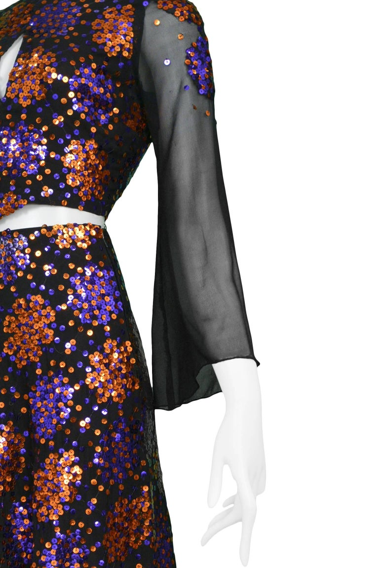 Important 1970's Thea Porter Silk Chiffon and Sequin Evening Ensemble  7