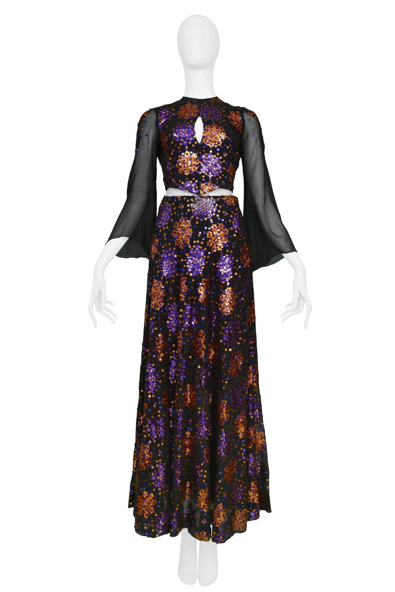 Important 1970's Thea Porter Silk Chiffon and Sequin Evening Ensemble  2
