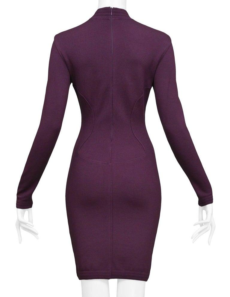 Women's Pristine Vintage Alaia Purple Knit Body Con Dress 1991  For Sale
