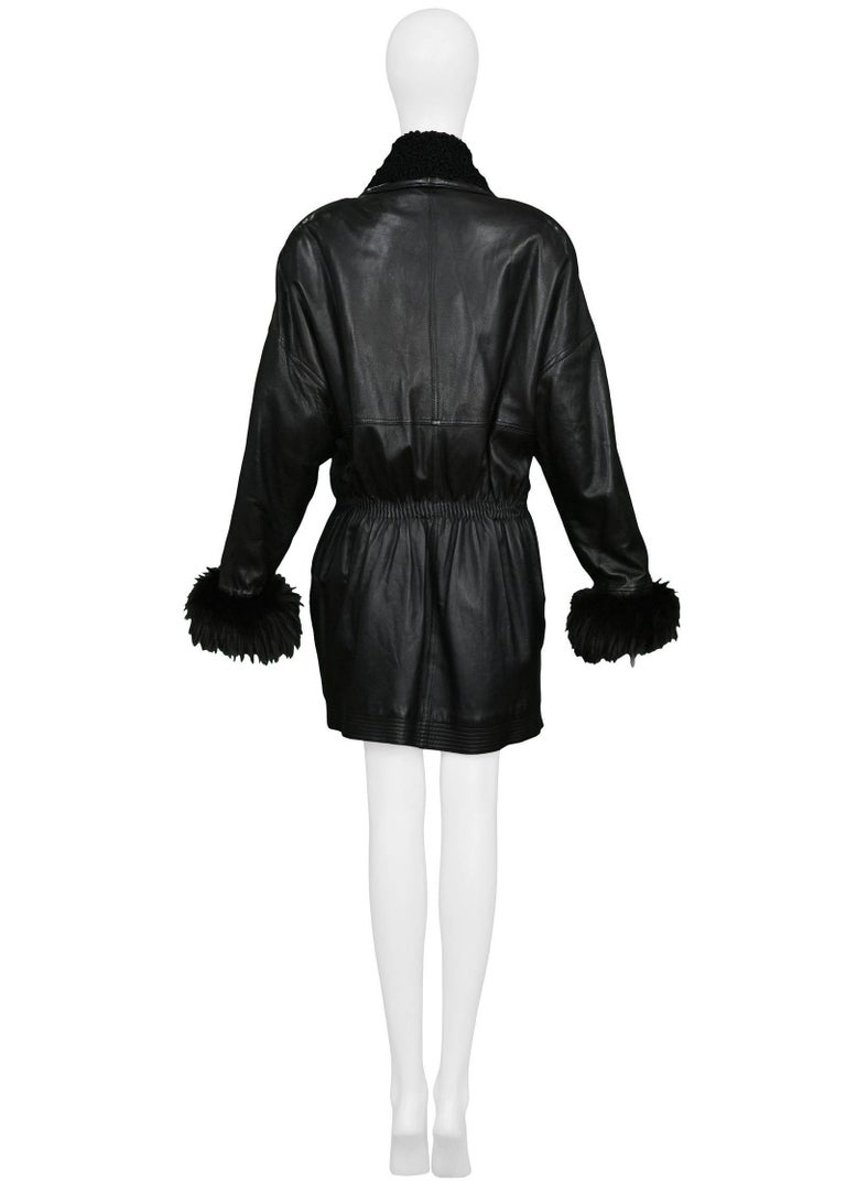 Vintage Gianni Versace Black Leather Parka Coat with Fur Cuffs & Collar In Excellent Condition For Sale In Los Angeles, CA