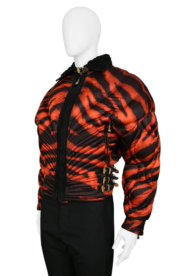 92efe916c7 Gianni Versace Apres Ski Red Tiger Print Bondage Puffer Jacket 1992