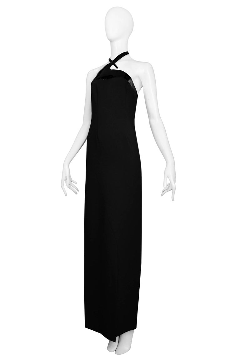 Women's Tom Ford For Gucci Iconic Patent Leather Harness Evening Gown 1997 For Sale