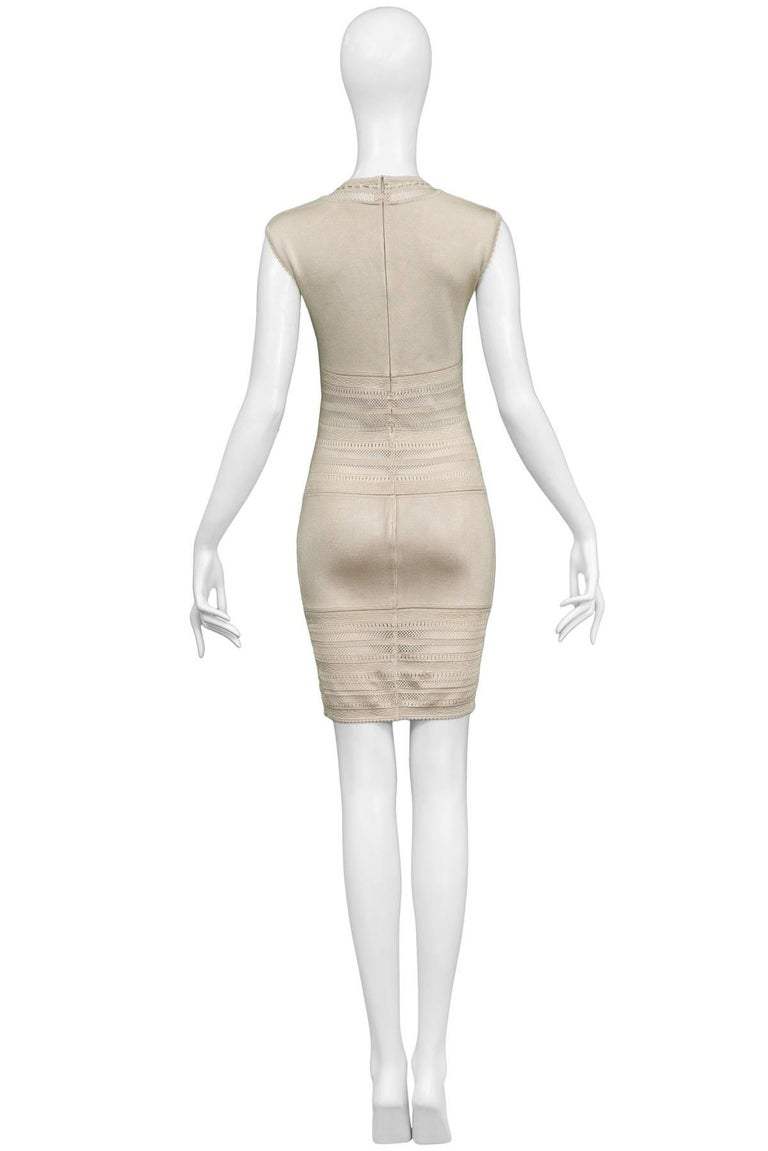 Iconic Vintage Alaia Neutral Tone Lace Bodycon Knit Dress 1990's In Excellent Condition For Sale In Los Angeles, CA
