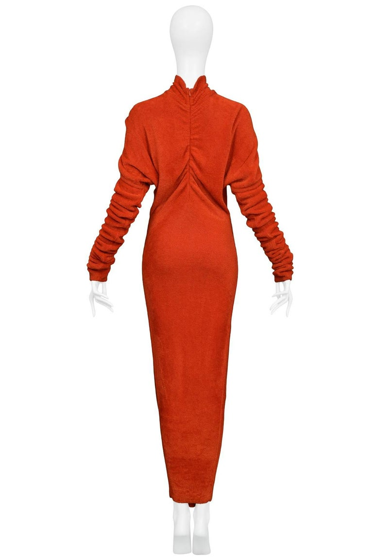 Unusual Holiday Azzedine Alaia Red Velvet Chenille Knit Gown With ...