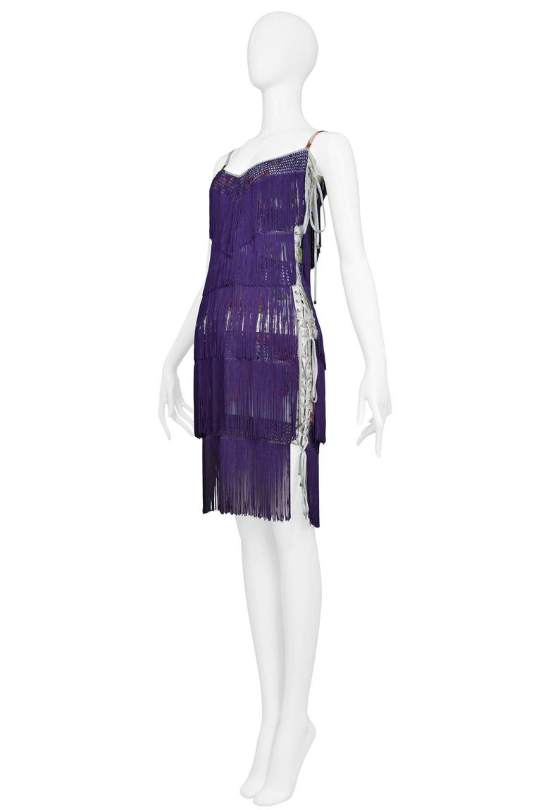 Dolce & Gabbana Purple Fringe and Floral Corset Runway Dress 2003  For Sale 1