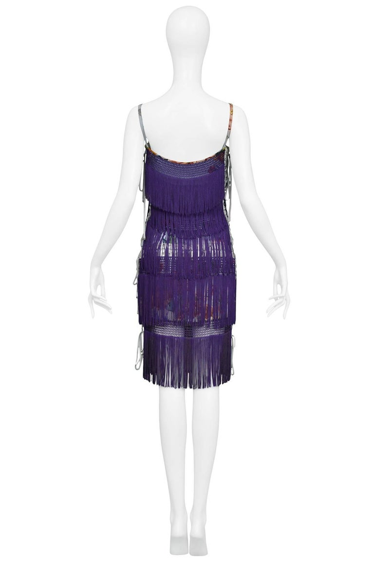 Dolce & Gabbana Purple Fringe and Floral Corset Runway Dress 2003  For Sale 2