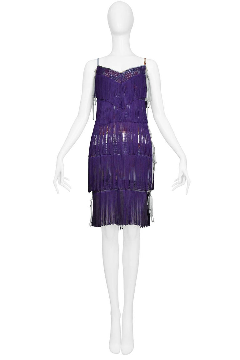 Dolce & Gabbana Purple Fringe and Floral Corset Runway Dress 2003  In Excellent Condition For Sale In Los Angeles, CA