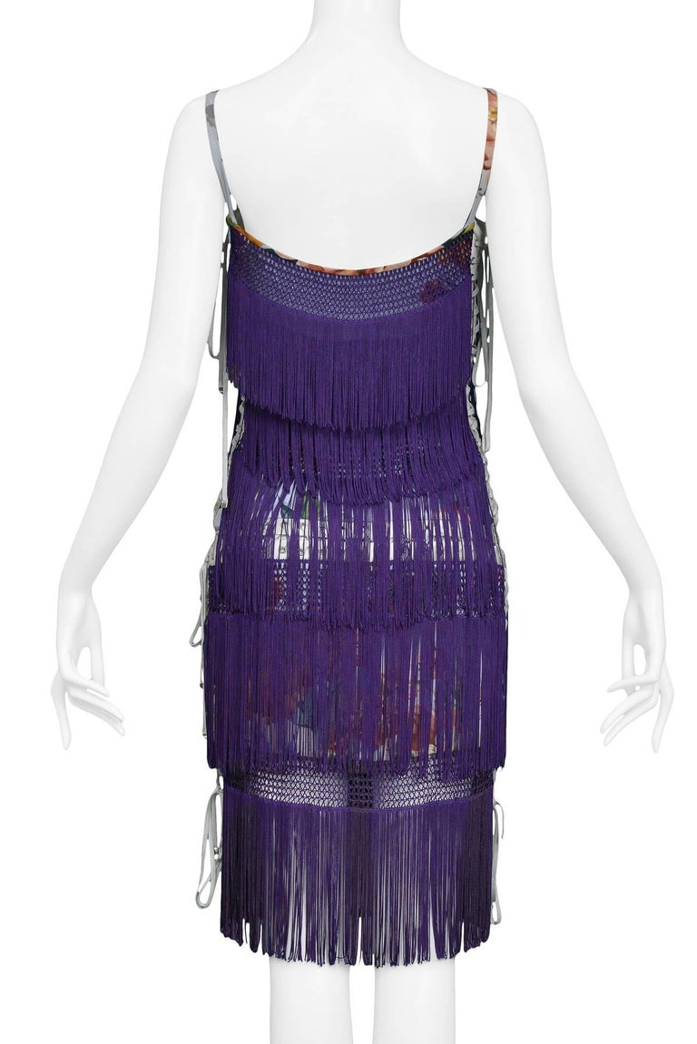Dolce & Gabbana Purple Fringe and Floral Corset Runway Dress 2003  For Sale 3