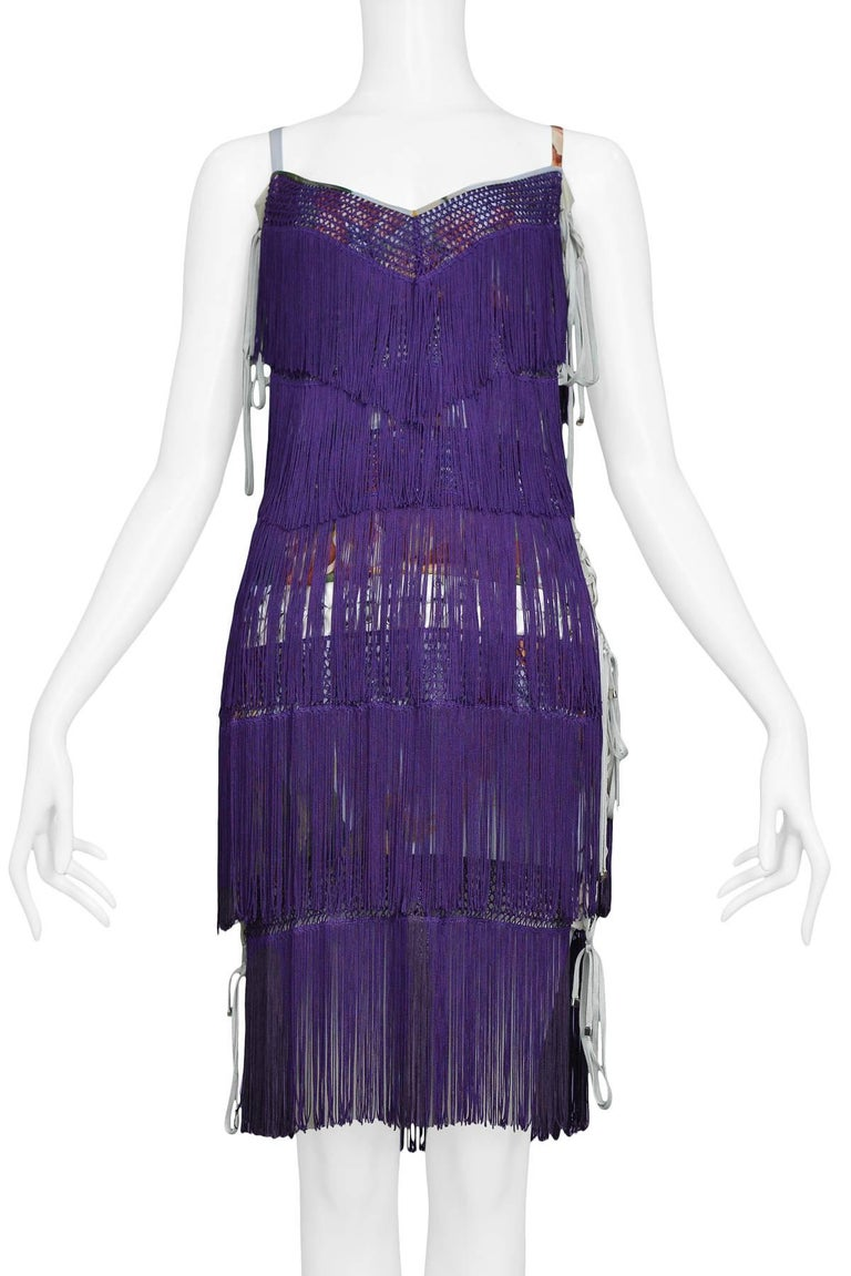 Women's Dolce & Gabbana Purple Fringe and Floral Corset Runway Dress 2003  For Sale