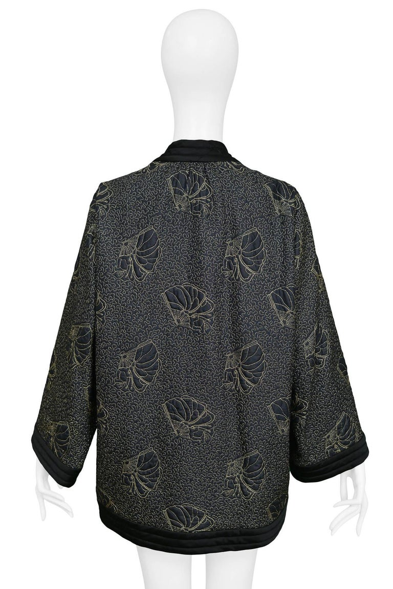 Yves Saint Laurent Vintage Black Kimono Jacket with Gold Embroidered Sea Shells  For Sale 1