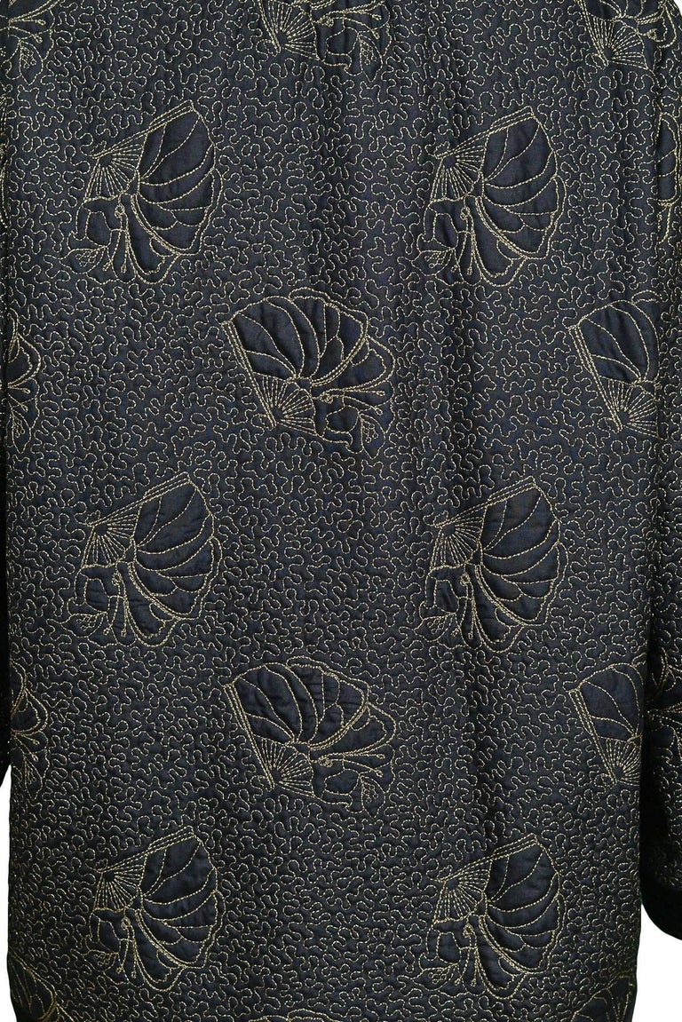 Women's Yves Saint Laurent Vintage Black Kimono Jacket with Gold Embroidered Sea Shells  For Sale