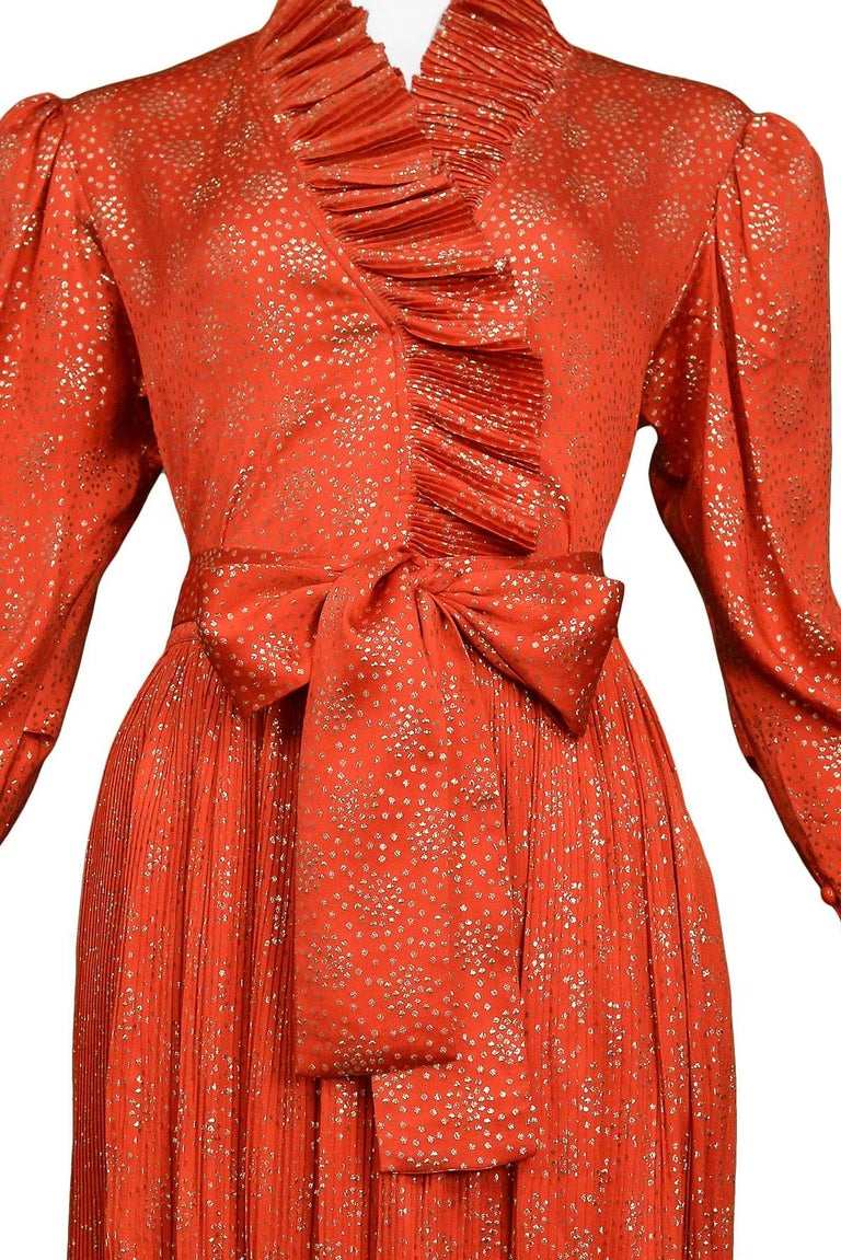 Vintage Yves Saint Laurent YSL Red & Gold Metallic Ruffle Ensemble  In Excellent Condition For Sale In Los Angeles, CA