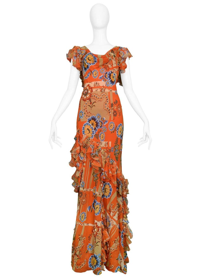 Brown John Galliano Red Floral Evening Gown With Ruffles and Open Back  For Sale