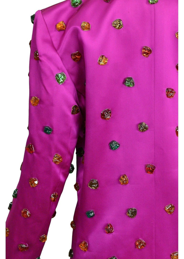 Vintage Yves Saint Laurent Gripoix Gemstone Satin Evening Jacket In Excellent Condition For Sale In Los Angeles, CA